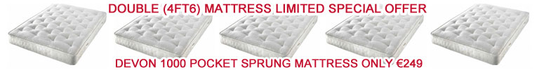 Devon 1000 Pocket Sprung Double 4ft6 Mattress for 275 Euros with Free Delivery anywhere in Ireland